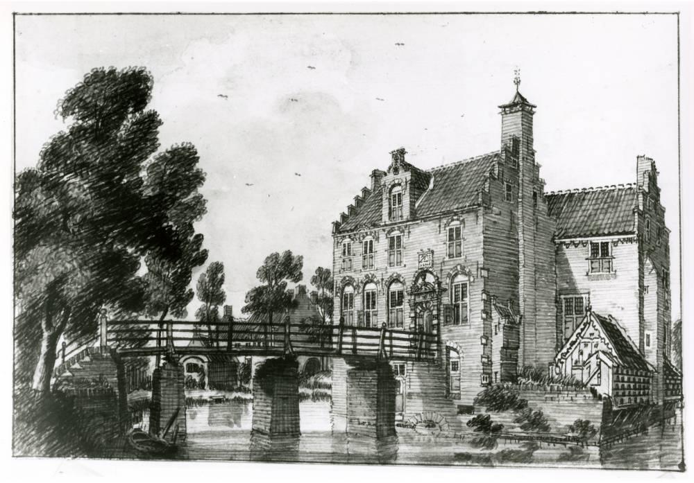 Kasteel Wijnestein in Jutphaas. Tekening Jan de Beijer, 1744